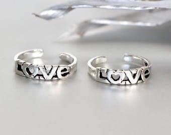 Silver Love Toe Ring, Sterling Silver Toe Band, Adjustable Toe Ring, Minimalist Toe Ring, Romantic Gift Toe Ring, Boho Toe Ring, TS89