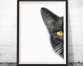 Watercolor cat print, black cat print, black cat painting, cat art poster, cat art prints, black cat decor, cat home decor, funny animal art