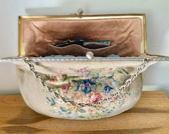 Fancy and Large Vintage Handmade 1950s Petit Point Carpetbag  Purse With Change Purse and Mirror