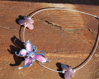 Pink acrylic Butterfly Necklace on cable wire-wrapped