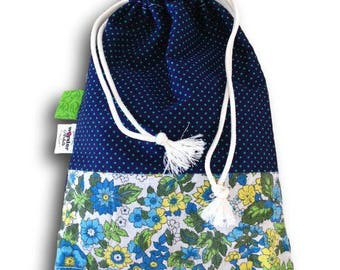 bag snack DrawString cotton printed flowers and green and blue polka dots