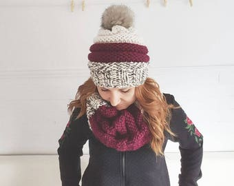 Off white MILDRED, Burgundy and white marbled / Hat / Pompom / scarf / knit