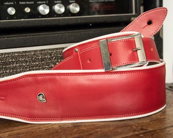 Etabeta Guitar Strap-shoulder-strap red padded leather guitar-shoulder strap low comfort-art. Red CADILLAC-Made in Italy