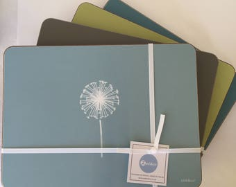 Dandelion Placemats - Set Of Four, Available In Four Colours, Wedding Gift, Gift For Her, High Quality, Made in UK