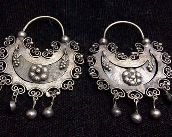 Antique Vintage Middle Eastern Earrings STERLING *ST578