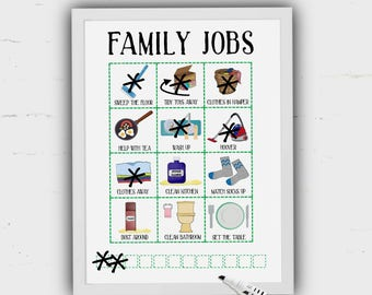 Chore Chart, Kids jobs planner, weekly tasks, helpful children, kids jobs, reward chart, family chores, Helping Mum, Pictures, Communication