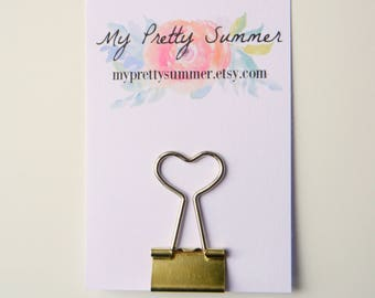 Heart Binder Clips, Gold Binder Clip, Planner Bulldog Clip, Cute Paperclip, Pretty Paperclip, Planner Accessories