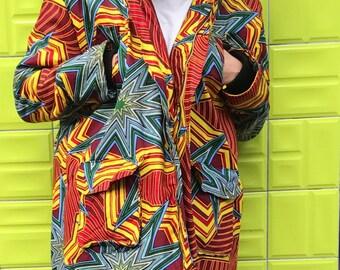 African Parka - African Coat - Sheepskin Coat - African Winter Coat - Wool Parka - Wax print Parka - Ankara Clothing - Festival Coat