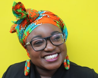 Ankara Headwrap African Print Headwrap African Wax Print Turban Ankara Head Scarf African Headtie Wax Print Headwrap Wax Print Scarf