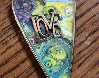 "Silver Pendant - 2"" Long Heart Bezel - Resin Coated - Acrylic Paint (LH-002)"
