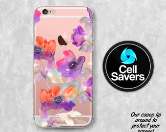 Floral Watercolor Clear iPhone 6s iPhone 6 iPhone 6 Plus iPhone 6s Plus iPhone 5c iPhone 5 SE iPhone 7 Plus Purple Flowers Orange Tumblr New
