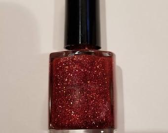Red Gold Glitter Nail Polish