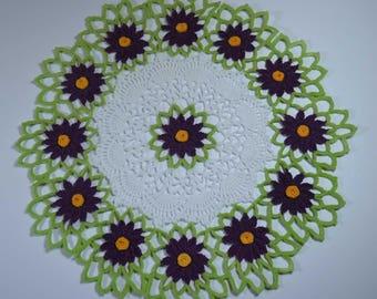 purple flower doily, crochet doily, doily, flower doily, doily