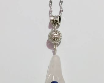 Beautiful Rose Quartz, Lapis Lazuli Calla Lily Pendant
