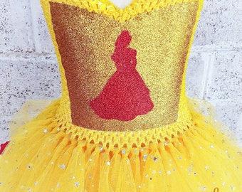 Belle Tutu Dress - Beauty and the Beast Tutu - Princess Dress -  Disney Tutu Dress - Princess Belle Costume - Yellow Tutu Dress - Red Rose