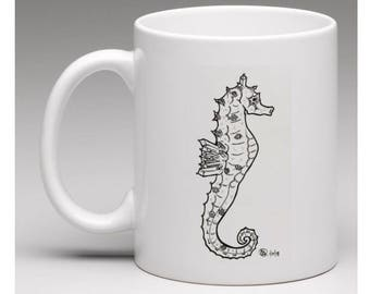 Mugs. Abstract gem turtle, seahorse and octopus. Home / Kitchen decor.