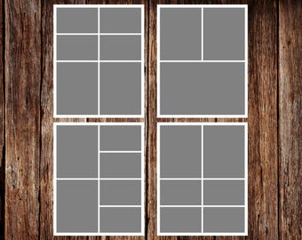 Storyboard Template, Photo Collage Template - 8 x 10 - Template Pack - No.2 - INSTANT DOWNLOAD