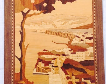 Inlaid marquetry Italian scene. Made by sorrento master.