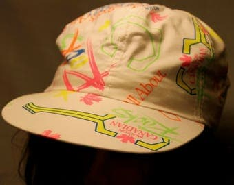 Vintage Molson Canadian Rocks Beer All Over Neon Print Retro One Size Hat !