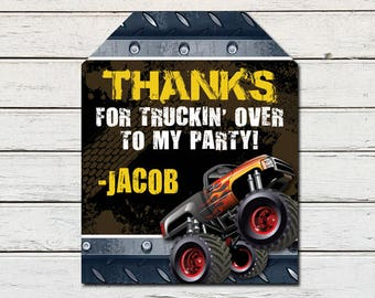 Monster Truck Printable Party Thank You Favor Tag (PDF File only)