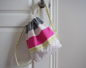Pink Triangle Child Bookbag. Drawstring Backpack. Library Bag. Daycare Bag. Girls Bookbags. Dance Bag. Girls Church Bag. Preschool backpack
