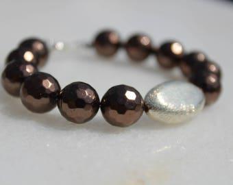 Subtle Bronze Shell Pearl Bracelet with Brushed Silver Focal
