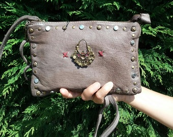 Leather Handbag Bohemian style, Vintage effect, shoulder strap, short handle, zipper, bronze studs and Kuchi earring, Ibiza, ethnic, Boho