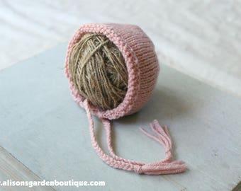 Newborn Pink Knit Bonnet- Baby Bonnet- Knitted Bonnet- Knit Photography Prop- Baby Girl Bonnet