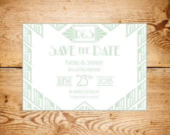 Art Deco The Great Gatsby style save the date