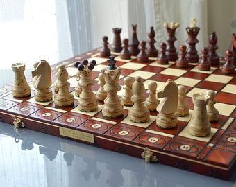 """Personalized Giant 21""""/54cm Ornamented Chess Set; All carved by hand - Giant Chess Set - Felt/Leather bag available-Personalization for FREE"""