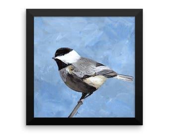 Framed Chickadee Art Print, Gray Bird Art, 10 x 10 Chickadee Art, Framed Art Print, Gray Bird Painting, Black Frame, Bird Art Print,