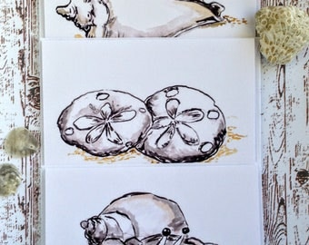 ocean animals cards set of 3 blank cards with envelopes 4 x 55 inch