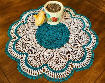 Teal and White Lace Doily - Housewarming Gift - Handmade Doilies - Round Doily - Coffee Table Doily - Handmade Decor - Rustic Decor