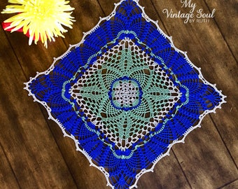 Blue Square Lace Doily - Housewarming Gift - Coffee Table Doily - Rustic Table Decor - Farmhouse Table Decor - Pineapple Crochet Doily