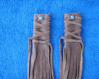 "Native American Leather Hair Wrap Fringed Leather Hair Glove  15"" Leather Hair Wraps 1.00 shipping"