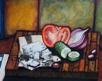 Greek Salad Days! Original Watercolour Painting by Wingnut Walker