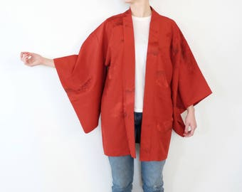 Vintage Haori Kimono - Excellent Condition - Oriental Red Kimono - Silk Kimono - Vintage - Kimono For Women - Haori Jacket - Kimono Overcoat