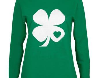 St. Patrick's Day Shamrock Heart Green Womens Long Sleeve T-Shirt