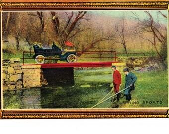 Antique Vintage Color Fishing Postcard Spring Sports Early 1900s Vintage Car Divided Back