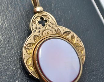 Fine Victorian 10k GOLD Bloodstone & Sardonyx Spinning Hand Engraved FOB PENDANT