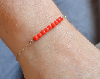 czech red glass bead bracelet, for women,dainty,simple and minimalist,perfect for any occasion.