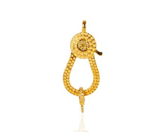 SDC2040  Hamrd Lock Gold  Pave Diamond Charm