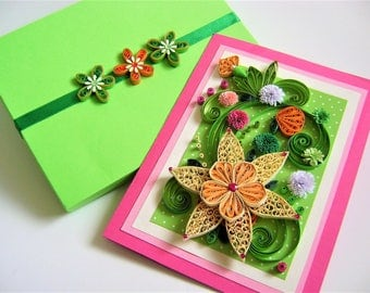 Quilled flowers card,Happy birthday card,Paper quilling in a box,Quilled greeting card,Quilling designs,Quilling card handmade,delicate card
