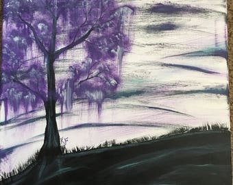 Violet Willow Tree Acrylic Painting