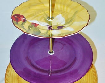 Three Tier Cake Stand, Jewelry Stand, Vanity Stand, Pretty Plates, Cupcake Stand, Dessert, Appetizer, Tidbit, Rose, Hand Painted, Floral