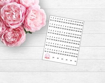 Mini Calendar Numbers (L39)
