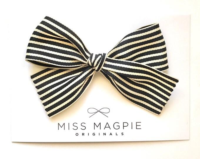 Ribbon bow || Black + cream stripe
