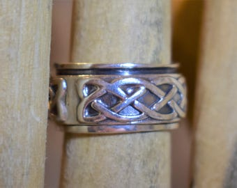 Sterling Silver 11mm wide Spinner Band Ring