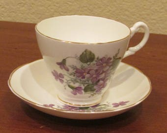 Allyn Nelson Collection Bone China Cup & Saucer Purple Bouquet England