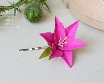 Lily hair clip Pink wedding flower girl Gift for girl flower bobby pin Hair accessories Baby gift Spring bridal flower gift hair barrette